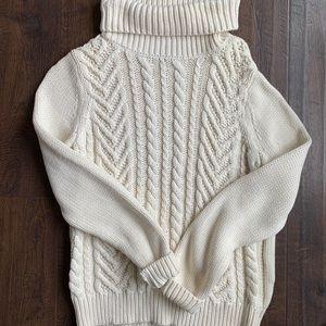 Lands End turtleneck cable knit sweater